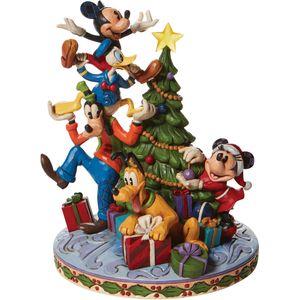 Disney Traditions Merry Tree Trimming Tree Fab 5 Decorating Illuminated Figurine