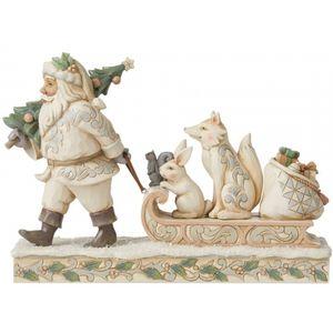 Heartwood Creek White Woodland Figurine - Santa Pulling Sled with Animals