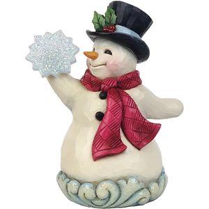 Heartwood Creek Winter Wonderland Figurine - Small Snowman Holding Snowflake