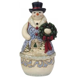 Heartwood Creek Hanging Ornament - Victorian Snowman with Wreath