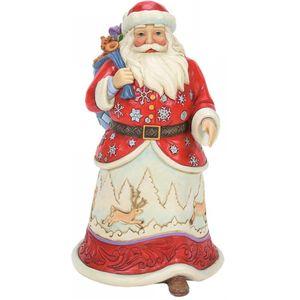 Heartwood Creek Santa Figurine - Walking Santa with Winter Scene