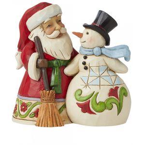 Heartwood Creek Santa & Snowman Figurine