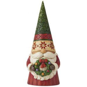 Heartwood Creek Christmas Gnome Holding Wreath Figurine
