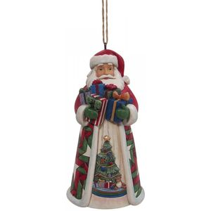 Heartwood Creek Santa with Arms full of gifts hanging ornament