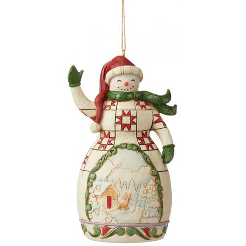 Heartwood Creek Hanging Ornament - Red & Green Snowman 6009470