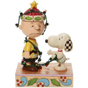 Peanuts by Jim Shore Illuminated Figurine - Charlie Brown Tangled Lights