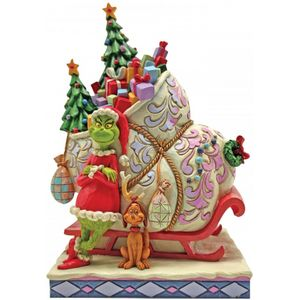 The Grinch by Jim Shore Figurine - Sleigh with Max