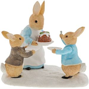 Beatrix Potter Mrs Rabbit with a Christmas Pudding Figurine