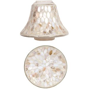 Aroma Jar Candle Shade & Plate Set: Mother of Pearl
