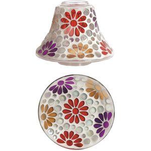 Aroma Jar Candle Shade & Plate Set: Multi Floral