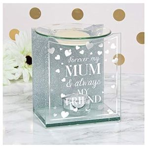 Glass & Silver Glitter Wax Melt/Oil Burner - Forever my Mum