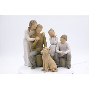 Willow Tree Figurines Set Mum & Dad with Son & Daughter and Pet Dog