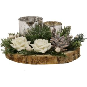 Christmas Tea Light Candle Holder - Two Silver Holders with White Roses