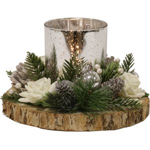 Christmas Tea Light Candle Holder - Silver Holder with White Rose & Pine Cones