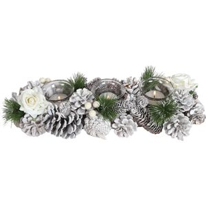 Christmas Tea Light Candle Holder -Three Clear Holders White Roses & Pine Cones