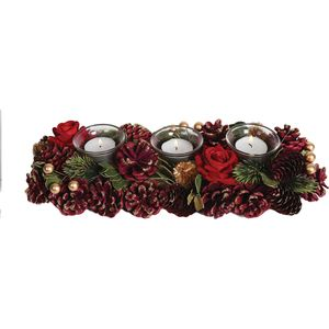 Christmas Tea Light Candle Holder - Three Clear Holders Red Roses & Pine Cones
