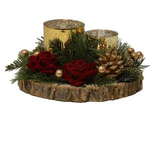 Christmas Tea Light Candle Holder - Two Gold Holders with Red Roses & Pine Cones
