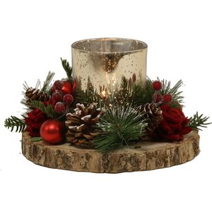 Christmas Tea Light Candle Holder - Gold Holder with Red Rose & Pine Cone