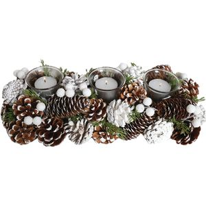 Christmas Tea Light Candle Holder - Three Clear Holders with Pine Cones