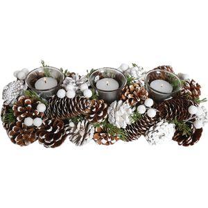Festive TripleTea Light Candle Holder - Pine Cones