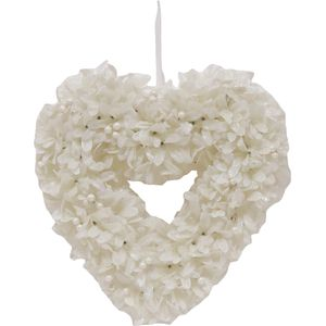 Christmas Wreath 34cm - Frosted White Leaf Heart with White Berries