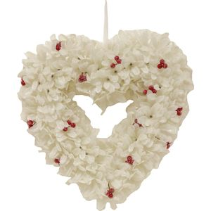 Christmas Wreath 34cm - Frosted White Leaf Heart with Red Berries
