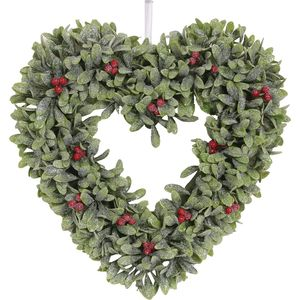 Christmas Wreath 34cm - Frosted Green Leaf Heart with Red Berries