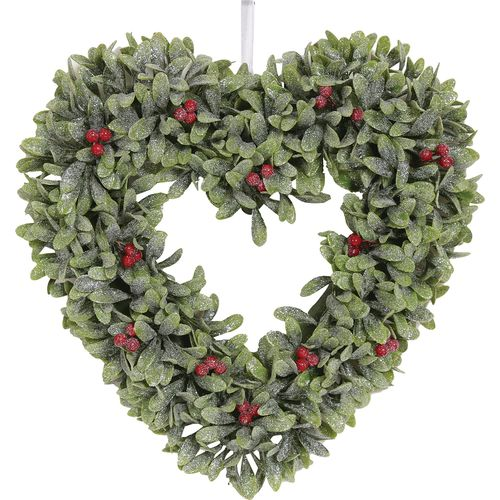 Christmas Wreath 34cm - Leaf Heart with Berries
