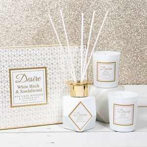 Desire Reed Diffuser & Candles Gift Set - White Birch & Sandalwood
