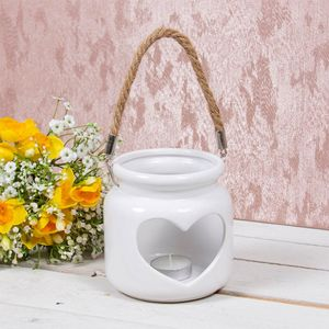 Desire Tea Light Candle Holder Lantern with Rope Handle - White Cut Out Heart