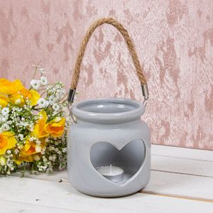 Desire Tea Light Candle Holder Lantern with Rope Handle - Grey Cut Out Heart