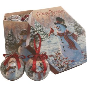 Christmas Tree Baubles - Decoupage Snowman Pack of 14 Assorted