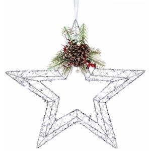 Christmas Wreath - Silver Glitter Star with LED Lights