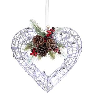 Christmas Wreath - Silver Glitter Heart with LED Lights