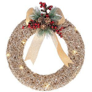 Christmas Wreath - Festive Rattan with LED Lights
