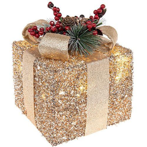 Christmas Decoration - Festive Gift Box with LED Lights