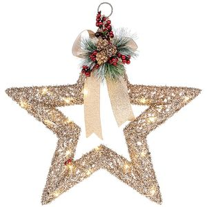 Christmas Decoration - Festive Rattan Open Star with LED Lights