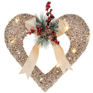 Christmas Decoration - Festive Rattan Open Heart with LED Lights
