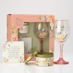 Sophia Peaches & Cream Candle Wine Glass & Plaque Gift Set - Mum