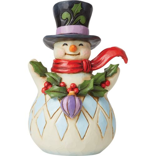 Heartwood Creek Snowman Figrune (Pint Size)  - With Holly Garland 6009006