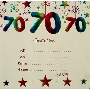 70th Birthday Party Invitations with envelopes x10