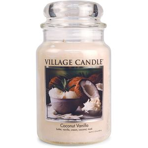 Village Candle Large Jar with Glass Dome Lid - Coconut Vanilla