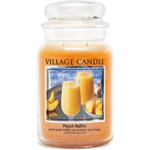Village Candle Large Jar with Glass Dome Lid - Peach Bellini