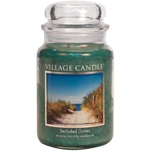Village Candle Large Jar with Glass Dome Lid - Secluded Dunes