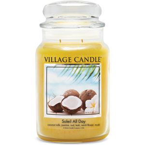 Village Candle Large Jar with Glass Dome Lid - Soleil All Day