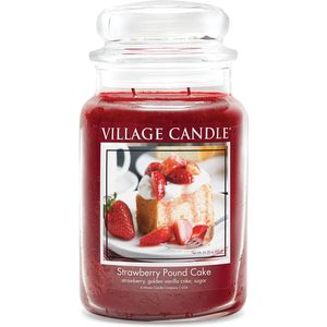 Village Candle Large Jar with Glass Dome Lid - Strawberry Pound Cake