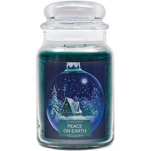 Village Candle Large Jar with Glass Dome Lid - Peace on Earth