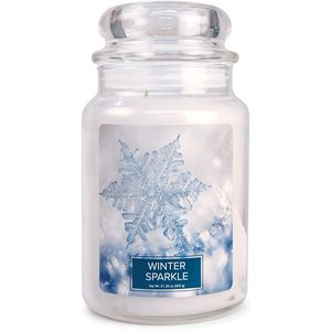 Village Candle Large Jar with Glass Dome Lid - Winter Sparkle