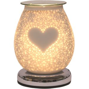 Aroma Electric Wax Melt Burner Touch - White Satin Burst Heart