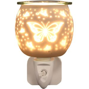 Aroma Electric Wax Melt Burner Plug In - White Satin Butterfly